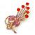 Orange Red, Pink, AB Austrian Crystal Floral Brooch In Bright Gold Metal - 65mm Length