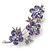 Light Purple Swarovski Crystal Floral Brooch In Rhodium Plating - 55mm Length