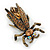 Vintage Inspired Ligth Amber Coloured Diamante 'Fly' Brooch In Bronze Tone - 35mm Length - view 3