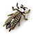 Vintage Inspired Clear Diamante 'Fly' Brooch In Bronze Tone - 35mm Length - view 2