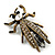 Vintage Inspired Clear Diamante 'Fly' Brooch In Bronze Tone - 35mm Length - view 3
