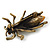 Vintage Inspired Clear Diamante 'Fly' Brooch In Bronze Tone - 35mm Length - view 4