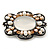 Vintage Inspired Light Grey Glass, Freshwater Pearl Oval Brooch In Antique Silver Tone - 48mm Width - view 2