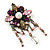 Vintage Inspired Multicoloured Simulated Pearl, Acrylic Bead Charm Brooch In Bronze Tone - 70mm Length - view 4