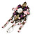 Vintage Inspired Multicoloured Simulated Pearl, Acrylic Bead Charm Brooch In Bronze Tone - 70mm Length - view 2