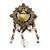 Vintage Inspired Multicoloured Simulated Pearl, Acrylic Bead Charm Brooch In Bronze Tone - 70mm Length - view 5