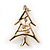 Small Contemporary Holly Jolly Christmas Tree Brooch In Gold Plating - 30mm Length - view 5