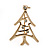 Small Contemporary Holly Jolly Christmas Tree Brooch In Gold Plating - 30mm Length - view 2