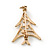 Small Contemporary Holly Jolly Christmas Tree Brooch In Gold Plating - 30mm Length - view 6