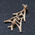 Small Contemporary Holly Jolly Christmas Tree Brooch In Gold Plating - 30mm Length - view 4