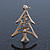 Small Contemporary Holly Jolly Christmas Tree Brooch In Gold Plating - 30mm Length