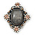 Vintage Inspired Oval Diamante Glass Brooch In Burn Silver Tone - 47mm Width - view 2