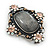 Vintage Inspired Oval Diamante Glass Brooch In Burn Silver Tone - 47mm Width - view 3
