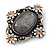 Vintage Inspired Oval Diamante Glass Brooch In Burn Silver Tone - 47mm Width - view 4