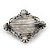 Vintage Inspired Oval Diamante Glass Brooch In Burn Silver Tone - 47mm Width - view 5