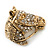 Burn Gold Diamante Horse Head Brooch - 30mm Across - view 2