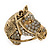 Burn Gold Diamante Horse Head Brooch - 30mm Across - view 1