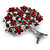 Burgundy Red Crystal 'Tree Of Life' Brooch In Gun Metal Finish - 52mm Length - view 2