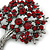 Burgundy Red Crystal 'Tree Of Life' Brooch In Gun Metal Finish - 52mm Length - view 3