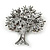 Burgundy Red Crystal 'Tree Of Life' Brooch In Gun Metal Finish - 52mm Length - view 4