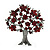 Burgundy Red Crystal 'Tree Of Life' Brooch In Gun Metal Finish - 52mm Length - view 5