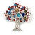 Multicoloured 'Tree Of Life' Brooch In Silver Tone Metal - 52mm Tall - view 2