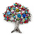 Multicoloured 'Tree Of Life' Brooch In Silver Tone Metal - 52mm Tall - view 6