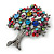 Multicoloured 'Tree Of Life' Brooch In Silver Tone Metal - 52mm Tall - view 7