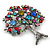 Multicoloured 'Tree Of Life' Brooch In Silver Tone Metal - 52mm Tall - view 8