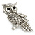 Rhodium Plated Crystal Owl Brooch - 60mm Length - view 4
