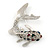 Rhodium Plated Diamante 'Fish' Brooch - 45mm Across - view 6