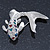 Rhodium Plated Diamante 'Fish' Brooch - 45mm Across - view 3