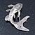 Rhodium Plated Diamante 'Fish' Brooch - 45mm Across - view 4