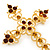 Victorian Style Diamante, Filigree 'Cross' Brooch In Gold Plating - 57mm Length - view 4