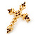 Victorian Style Diamante, Filigree 'Cross' Brooch In Gold Plating - 57mm Length - view 5