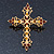 Victorian Style Diamante, Filigree 'Cross' Brooch In Gold Plating - 57mm Length - view 2