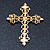 Victorian Style Diamante, Filigree 'Cross' Brooch In Gold Plating - 57mm Length - view 3