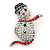 Christmas Crystal 'Snowman' Brooch In Rhodium Plating - 48mm Length - view 7