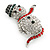 Christmas Crystal 'Snowman' Brooch In Rhodium Plating - 48mm Length - view 5