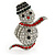 Christmas Crystal 'Snowman' Brooch In Rhodium Plating - 48mm Length - view 4