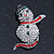 Christmas Crystal 'Snowman' Brooch In Rhodium Plating - 48mm Length - view 2