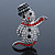 Christmas Crystal 'Snowman' Brooch In Rhodium Plating - 48mm Length - view 1