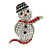Christmas Crystal 'Snowman' Brooch In Rhodium Plating - 48mm Length - view 8