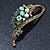 Vintage Inspired AB, Green Austrian Crystal 'Grapes' Brooch In Bronze Tone - 44mm Length - view 2