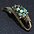 Vintage Inspired AB, Green Austrian Crystal 'Grapes' Brooch In Bronze Tone - 44mm Length - view 3
