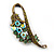 Vintage Inspired AB, Green Austrian Crystal 'Grapes' Brooch In Bronze Tone - 44mm Length - view 4