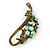 Vintage Inspired AB, Green Austrian Crystal 'Grapes' Brooch In Bronze Tone - 44mm Length - view 5