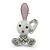 Cute White Enamel, Crystal 'Bunny' Brooch In Rhodium Plating - 42mm Length - view 3