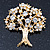 Clear Crystal 'Tree Of Life' Brooch In Gold Plating - 52mm Length