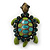 Vintage Inspired Green Enamel, Crystal 'Turtle' Brooch In Bronze Tone - 43mm Length - view 3